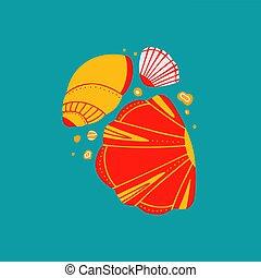 océano, fondo., boho, azul, dibujo, caricatura, garabato, plano, conchas marinas, ilustración, pattern., ornamento, arenas, habitantes