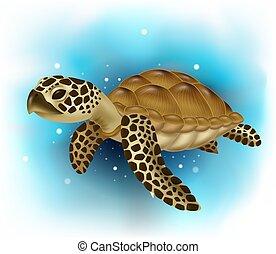 océano, natación, tortuga marina