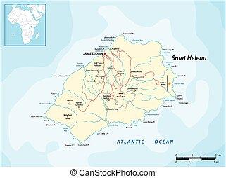 océano, reino unido, st. helena, vector, atlántico, mapa, británico, isla