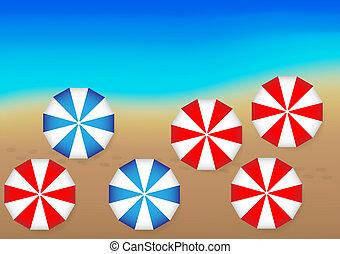 Océano y paraguas de playa