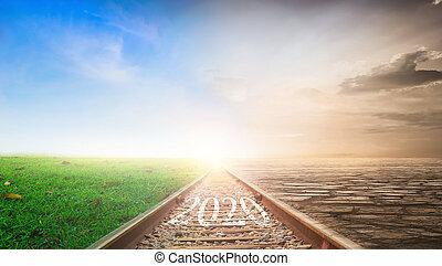 ocaso, 2020, plano de fondo, concept:, ferrocarril