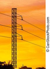 ocaso, ciudad, pilón, electricidad, silhouetted, contra