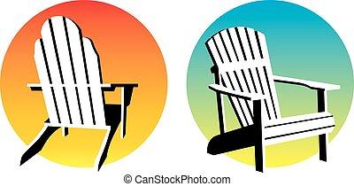ocaso, gráficos, adirondack sillón de la presidencia