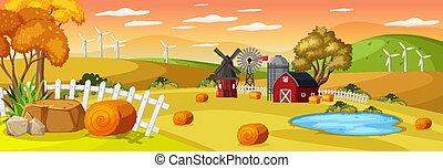 ocaso, granja, horizontal, tiempo, escena, paisaje