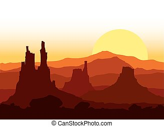 ocaso, montañas., rocoso, vector, illustration.