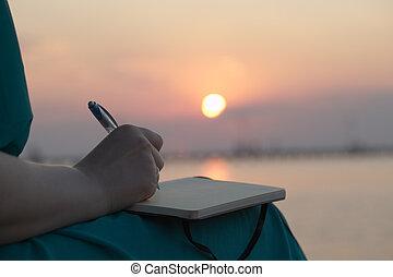 ocaso, mujer, diario, ella, escritura