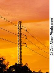 ocaso, pilón, electricidad, contra, silhouetted, ciudad