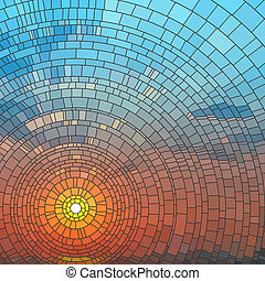 ocaso, sea., mosaico
