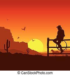 ocaso, tarde, salvaje, oeste americano, paisaje, vaquero