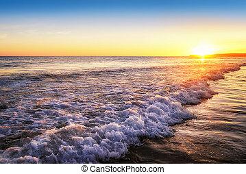 ocaso, tranquilo, playa