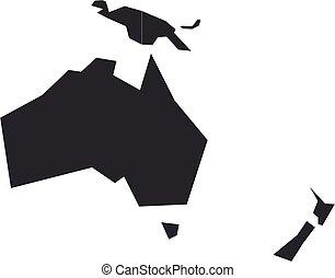 oceania., blanco, mapa, vector, político, gris, ilustración, australia