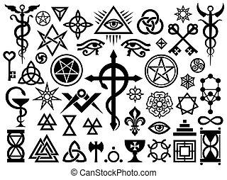 oculto, sellos, magia, medieval, señales