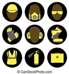 ocupacional, señales, salud, iconos, conjunto, seguridad