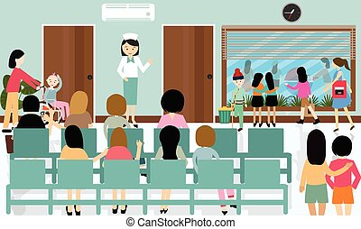 Ocupada actividad en el pasillo del hospital enfermera paciente en espera doctor