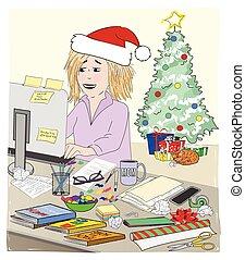 ocupado, computadora, trabajando, escritorio, desordenar, madre