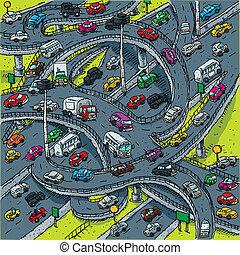 ocupado, intersección, carretera