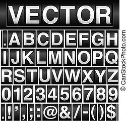 odómetro, alfabeto, números