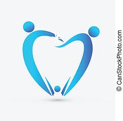odontología, vector, familia , icono