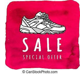 Oferta especial de venta de zapatillas. Poster o pancarta