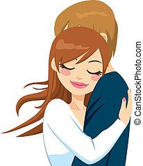 oferta, mujer, amor, abrazar