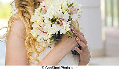 oferta, ramo, primer plano, boda