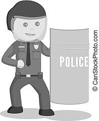 Oficial de policía con escudo