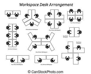 oficina, arreglo, espacio de trabajo, escritorio, company.