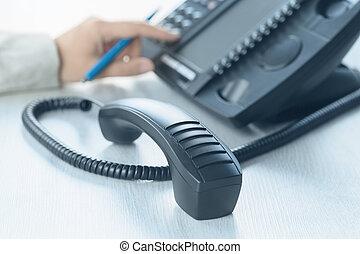 oficina, arriba, teléfono, voip, business., cierre