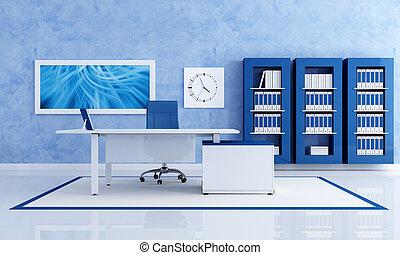 Oficina azul contemporánea