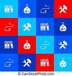 oficina, carpetas, conjunto, ruta, llave inglesa, tubo, ubicación, prueba, icon., martillo, cruzado, virus, vector