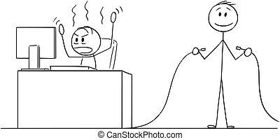 oficina, computadora, cable, o, enojado, tenencia, otro, caricatura, quitado, trabajando, hombre, hombre de negocios