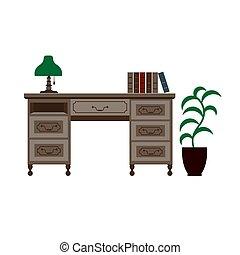 Oficina con estantes, lámpara verde y libros