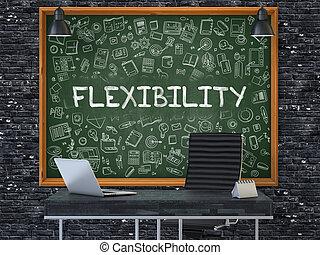 oficina, concept., pizarra, pared, flexibilidad