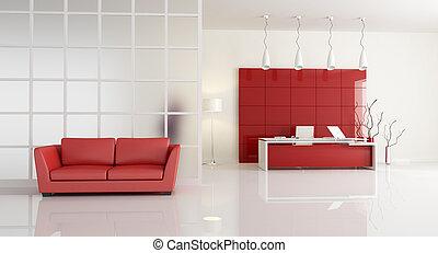 Oficina contemporánea roja y blanca