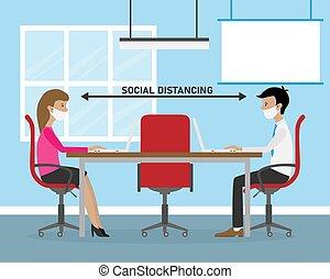 oficina, distancia, trabajo social
