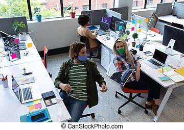 oficina, diverso, empresa / negocio, máscaras, creativo, grupo, llevando, cara, gente