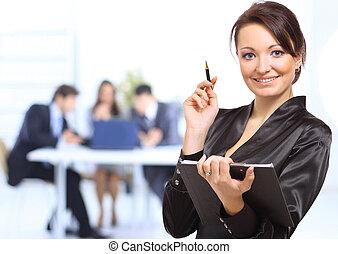 oficina, empresa / negocio, exitoso, mujer de negocios, retrato de equipo, reunión