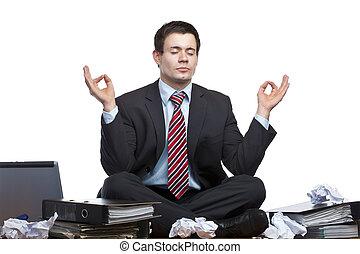 oficina, empresa / negocio, medita, escritorio, enfatizado, frustrado, hombre