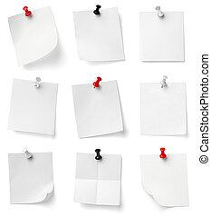 oficina, empresa / negocio, note papel, alfiler, empujón