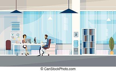 oficina, empresa / negocio, sentado, gente, co-working, juntos, centro, trabajando, creativo, escritorio
