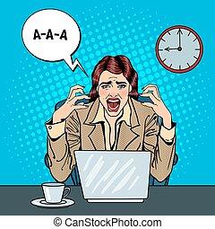 oficina, empresa / negocio, vector, work., enfatizado, frustrado, tasking, taponazo, estridente, ilustración, arte, mujer, multi