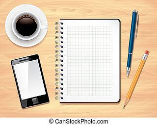 oficina, foto, cima, bloc, realista, vector, escritorio, vista
