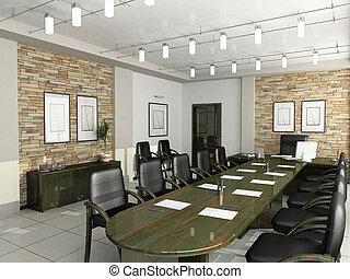 oficina, gabinete, director, interior, muebles, negociaciones, 3d