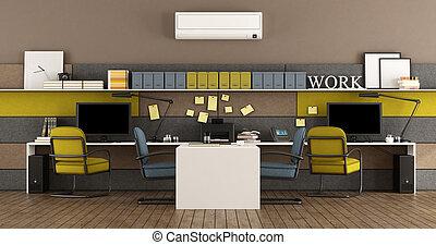 Oficina moderna azul y amarilla