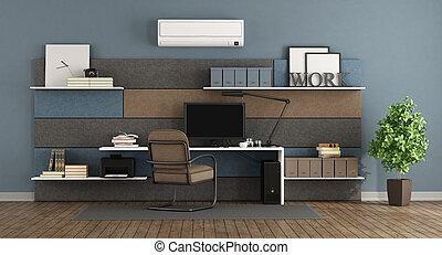 Oficina moderna azul y marrón