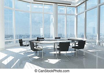 Oficina moderna con muchas ventanas