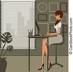 oficina, mujer