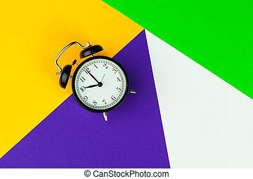 oficina, negro, alarma, bloque color, plano de fondo, interior, reloj