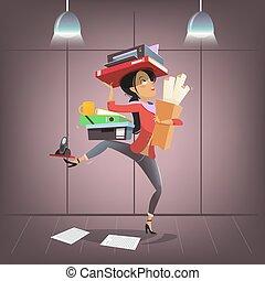oficina ocupada, empresa / negocio, asistente personal, compañía, carácter, style., vector, hembra, multitáreas, manager., caricatura, jefe, o, secretario