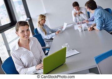oficina, plano de fondo, ella, mujer, personal, empresa / negocio